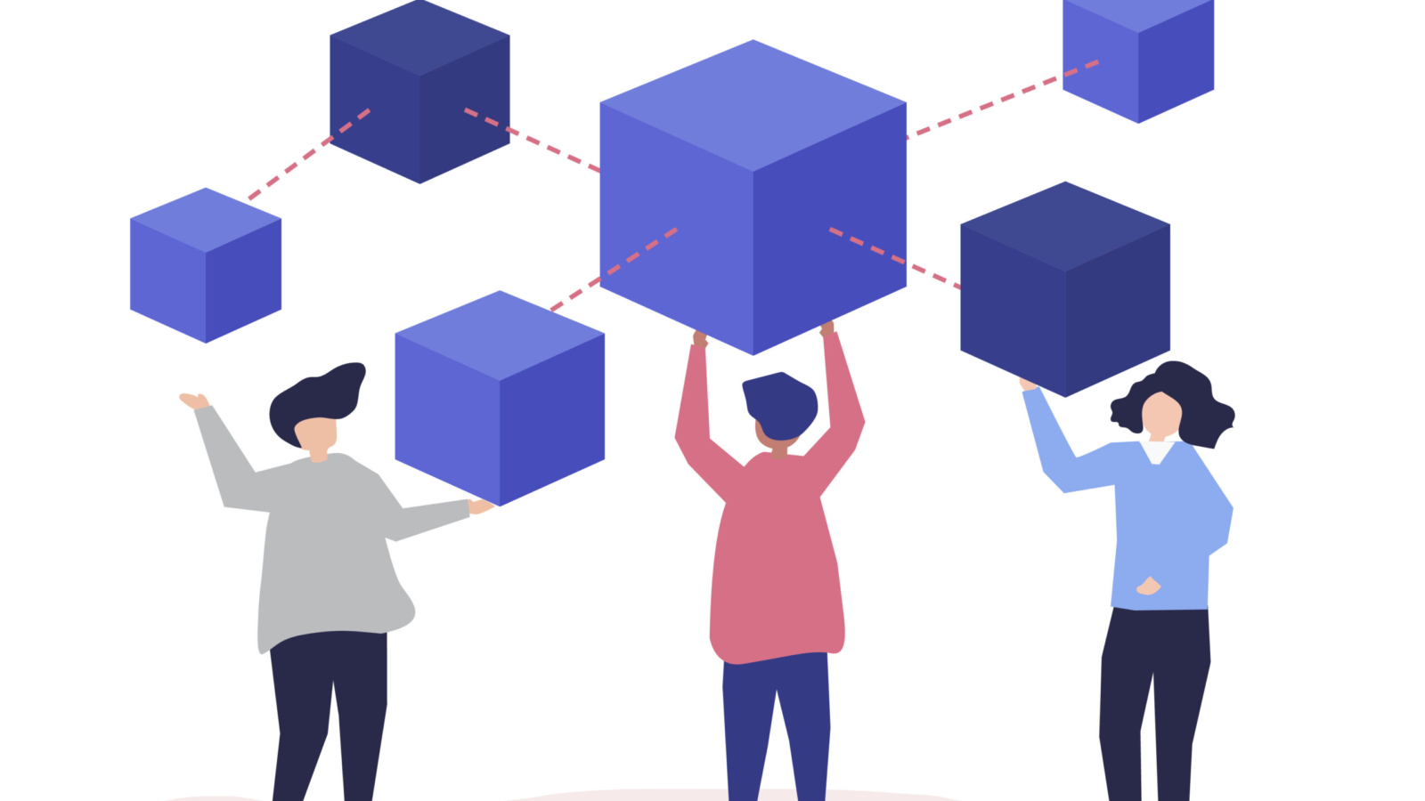Characters of people holding a blockchain network illustration