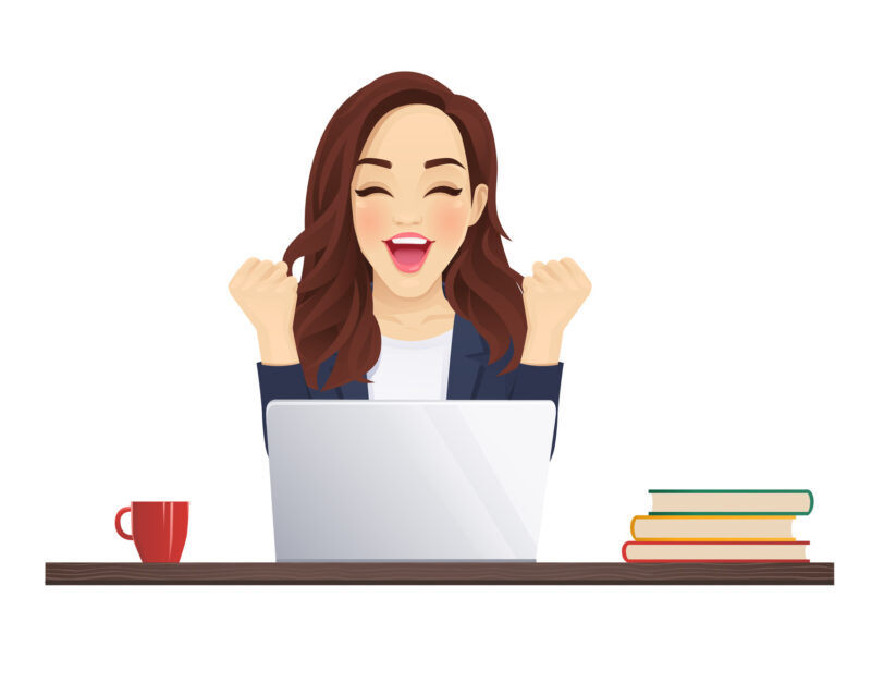 Young beautiful business woman using laptop computer sitting at a desk isolated vector illustration